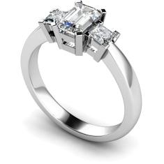 HRXTR96 Emerald & Princess 3 Stone Diamond Ring