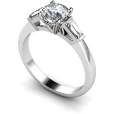 HRXTR97 Round & Baguettes 3 Stone Diamond Ring