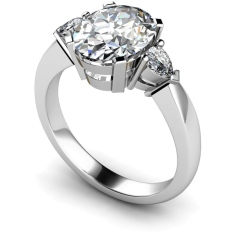 HRXTR99 Oval & Pear 3 Stone Diamond Ring