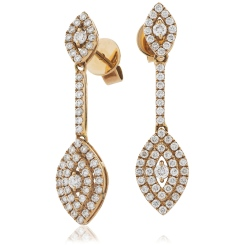 HERCL201 Design Drop & Cluster Diamond Earrings in 18K Rose Gold - 0.80ct, VS clarity, FG colour - rose