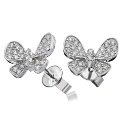 HERCL96 Round cut Butterfly Diamond Cluster Earrings - white
