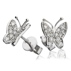 HERCL97 Designer Butterfly Round cut Diamond Cluster Earrings - white