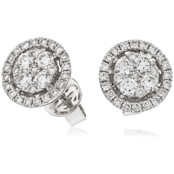 HERCL98 Round cut Halo Cluster Diamond Earrings - white
