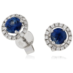 HERGBS268 Round cut Blue Sapphire Claw Halo Earrings - white