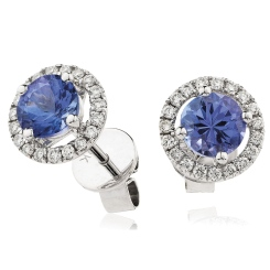 HERGTZ291 Round cut Tanzanite Halo Earrings - white