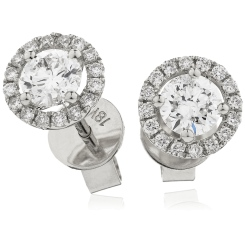 HER141 Single Halo Diamond Earrings - white