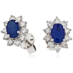 HEOGBS244 Blue Sapphire Halo Earrings - white