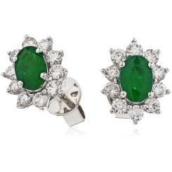 HEOGEM245 Emerald Gemstone Halo Earrings - white
