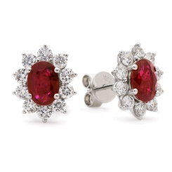 HEOGRY246 Ruby Gemstone Halo Earrings - white