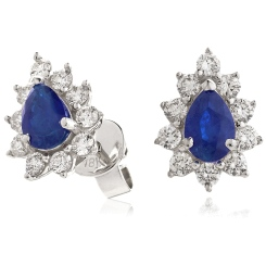 HEPEGBS247 Blue Sapphire Pear Shaped Halo Earrings - white