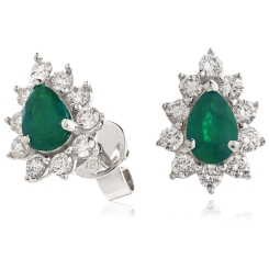 HEPEGEM248 Emerald Gemstone Pear Shaped Halo Earrings - white
