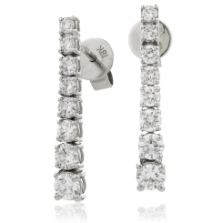 HER204 Brilliant cut Journey Diamond Earrings - white
