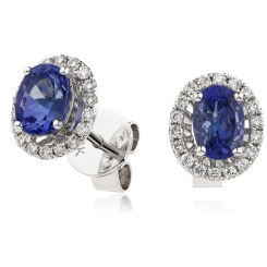 HEOGBS271 Oval cut Blue Sapphire Claw Halo Earrings - white