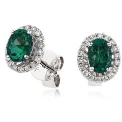 HEOGEM251 Emerald Gemstone Single Halo Earrings - white