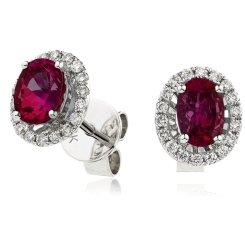 HEOGRY252 Ruby Gemstone Single Halo Earrings - white