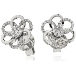HERCL104 Round cut Infinity Flower Designer Earrings - white