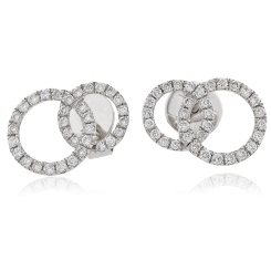 HERCL105 Round cut Twin Circle Diamond Earrings - white