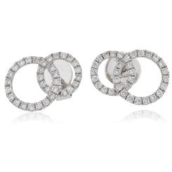 HERCL105 Round cut Twin Circle Diamond Earrings - white