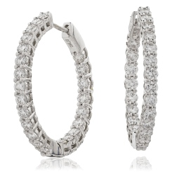 HER149 Round Hoop Diamond Earrings - white