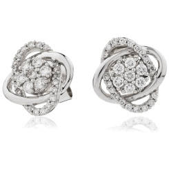 HERCL95 Round cut Infinity Cluster Diamond Earrings - white