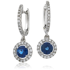 HERGBS253 Round Blue Sapphire Single Halo Earrings - white