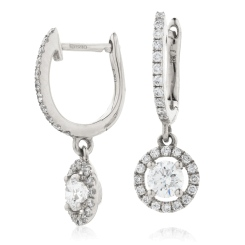 HER207 Single Halo Round Diamond Drop Earrings in 18K White Gold - 1.05ct, VS clarity, FG colour - white