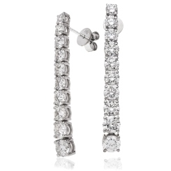 HER210 Round cut Diamond Journey Earrings - white