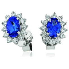 HEOGBS254 Oval cut Blue Sapphire Single Halo Earrings - white