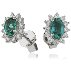 HEOGEM256 Oval cut Emerald Gemstone Halo Earrings - white