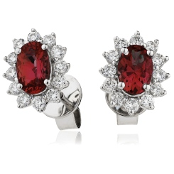 HEOGRY257 Oval cut Ruby Gemstone Halo Earrings - white