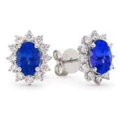 HEOGTZ258 Oval cut Tanzanite Gemstone Halo Earrings - white
