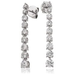 HER212 Three Claw Diamond Journey Earrings - white