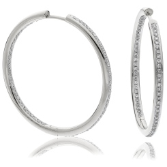 HER151 Brilliant cut Drop & Hoop Diamond Earrings - white
