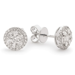HERCL106 Round cut Halo Cluster Diamond Earrings - white