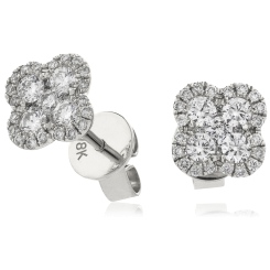 HERCL107 Quad Circle Round cut Cluster Diamond Earrings - white