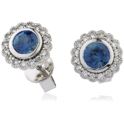 HERGBS260 Round Cut Blue Sapphire Halo Earrings - white