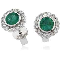 HERGEM261 Round Cut Emerald Gemstone Halo Earrings - white