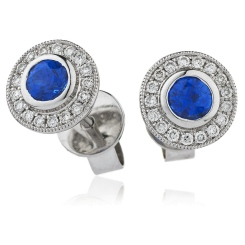 HERGBS263 Brillant Cut Blue Sapphire Halo Earrings - white