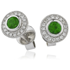 HERGEM264 Brilliant Cut Emerald Gemstone Halo Earrings - white