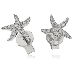HERCL108 Round cut Star Diamond Earrings - white