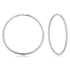 HER161 Drop & Hoop Round cut Diamond Earrings - white