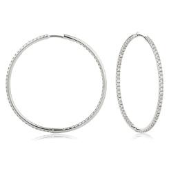 HER161 Drop & Hoop Round cut Diamond Earrings - white