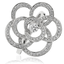 HRRCL893 Round cut Flower Shaped Cocktail Diamond Ring - white