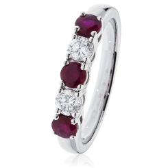 Ruby & Diamond 5 Stone Diamond Ring - white