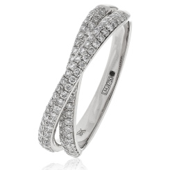 HRRHE962 Wave Round cut 60% Eternity Ring - white