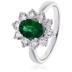 HROGEM1024 Emerald Gemstone & Diamond Halo Ring - white