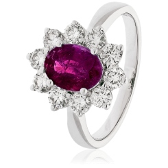 HROGRY1025 Ruby Gemstone & Diamond Halo Ring - white