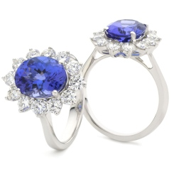 HROGTZ1094 Tanzanite & Diamond Floral Design Halo Ring - white
