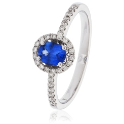 HROGBS1032 Oval cut Blue Sapphire & Diamond Halo Ring - white