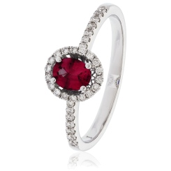 HROGRY1033 Oval cut Ruby Gemstone & Diamond Halo Ring - white